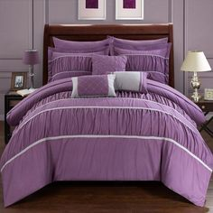 Wanda 10 Piece Bed in a Bag Comforter Set by Chic Home Plum - CS2118-HE
