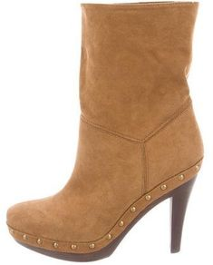 Brown vegan suede Stella McCartney round-toe ankle boots with stud embellishments at sides and wooden heels. Brown Ankle Boots, Suede Ankle Boots, Heeled Boots, Vegan Boots, Stella Mccartney, Booty, Sandals, Heels, Stuff To Buy