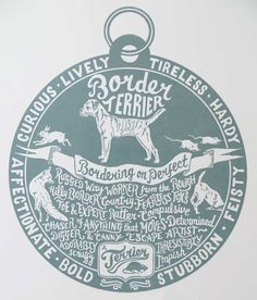 This print combines hand drawn lettering with illustration. I was inspired to tell the story of different dog breeds using a dog tag design.