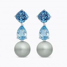 Pendientes de plata con perlas Tahití esférica y topacios London y Swiss Blue. - Idilio Tahitiano - Colecciones