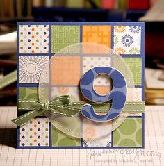 Birthday card using scrap squares and vellum.