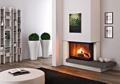 Wood fireplace / contemporary / closed hearth / built-in RIMINI MCZ Home Fireplace, Fireplace Surrounds, Fireplace Design, Fireplace Mantels, Contemporary Fireplace Screens, Modern Fireplace, Contemporary Decor, Wood Burning Fireplace Inserts, Home Decor Inspiration