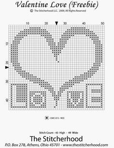 Valentine Freebies ~ The Stitcherhood Wedding Cross Stitch, Cross Stitch Heart, Cross Stitch Cards, Simple Cross Stitch, Cross Stitch Borders, Cross Stitch Alphabet, Counted Cross Stitch Patterns, Cross Stitch Designs, Cross Stitching