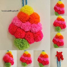 DIY Fluffy Pom Pom  Xmas Tree - homemade@myplace