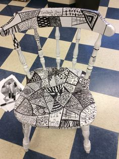 5th grade PTO school auction art project. Zentangle designs on spray painted thrift shop chair.