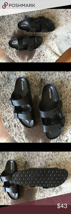 147cfcf52b09 Size Brand New Steve Madden Sandals. Size 8 and Brand New. They look  exactly like Birkenstocks - all black. I still have the box.