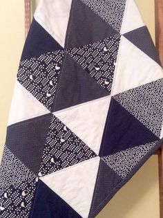 Baby quilts, handmade baby quilt, modern baby quilt, baby girl quilt, triangle quilt, crib quilt, navy blue white, birds, baby gift, cotton by OliveCottageQuilts on Etsy