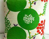 Japanese fabric cushion cover in natural background with green circular floral motif, throw pillow, decorative cushion Custom Cushion Covers, Custom Cushions, Decorative Cushions, Decorative Accents, Small Cushions, Throw Cushions, Bordados E Cia, Home Decor Lights, Textiles
