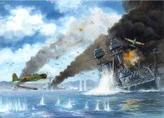 Betty ~ Mitsubishi Torpedo Bomber at Pearl Harbor ~ BFD Navy Aircraft, Ww2 Aircraft, Military Aircraft, Pearl Harbor 1941, Pearl Harbor Attack, Military Art, Military History, Uss Oklahoma, Remember Pearl Harbor