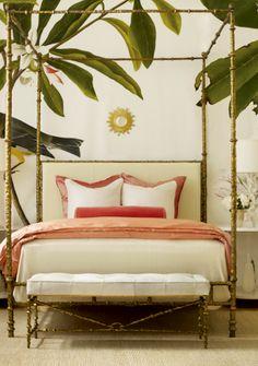 leaf wallpaper & Oly furnishings | bedroom