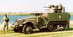 US Half Track armed with Quad .50 caliber MGs for Air Defense
