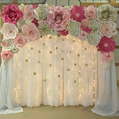 39 Ideas For Baby Shower Decorations Ideas Flower Backdrop Diy Wedding Backdrop, Diy Backdrop, Paper Flower Backdrop, Giant Paper Flowers, Diy Flowers, Debut Backdrop, Floral Backdrop, Paper Flowers Wedding, Paper Flower Wall