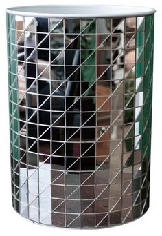 Vintage mirrored 60s disco waste basket/trash can