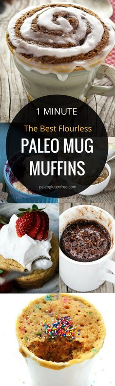 The best mouthwatering easy 1 Minute Flourless Mug Muffins! healthy Paleo Microwave blueberry muffin recipe. Easy gluten free breakfast: chocolate and banana mug muffins! All the best, just for you!