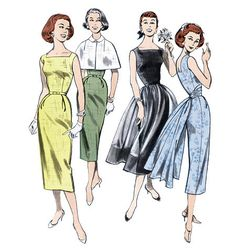 1950s Repro Vintage Sewing Pattern: Dress, Capelet and Cummerbund. Butterick 5032