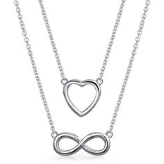 925 Silver Infinity Figure 8 Heart Love Layered Necklace Set ($21) ❤ liked on Polyvore featuring jewelry, necklaces, grey, necklaces pendants, pendant-necklaces, pendant necklaces, silver necklace pendant, silver chain necklace, infinity heart necklace and silver heart pendant