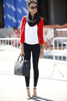 Fashion Week Street Style. Such an easy outfit! Black skinnies, white t-shirt, red cardigan, black scarf and great heels.