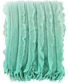 Monte Mint Ruffle Knit Blanket