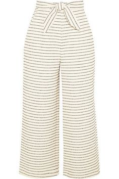 President and Creative Director Mara Hoffman is passionate about the use of sustainable fibers and practices in her collections. Woven from a cream organic cotton-blend with irregular black stripes, these cropped pants are detailed with flattering ties at the waist. Wear yours with the coordinating top.