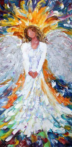 Reserved for Jason Original oil painting Angel of Light Portrait Palette knife modern impressionism impasto fine art by Karen Tarlton