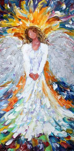Original oil painting Angel of Light Portrait by Karensfineart