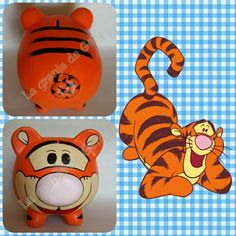 Tigger Pottery Painting Designs, Paint Designs, Pebble Painting, Ceramic Painting, Pig Bank, Penny Bank, Personalized Piggy Bank, Toddler Themes, Cute Piggies