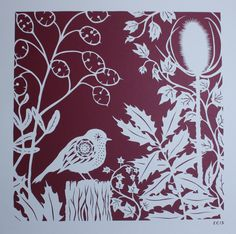 Bird paper cut. 'Robin in Winter Foliage' by Stories In Paper (Ellie Chaney). Handmade bird papercut from the 'Bird Spotting' series, 2015.