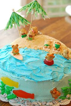 back in middle school, Grandma and I made a similar one. However, ours had a swimming pool made from blue jello on the top (luau party desserts graham crackers) Beach Themed Cakes, Beach Cakes, Luau Birthday, Birthday Parties, Beach Birthday Cakes, Easy Kids Birthday Cakes, Birthday Ideas, Splish Splash, Pool Cake