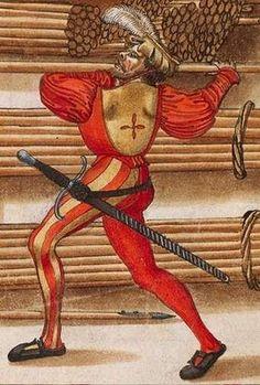 Zeugbuch Kaiser Maximilians I [Book of Emperor Maximilian's Stuff?], BSB Cod.icon.222, 71r, c. 1502; Landsknehct [foot soldier / land soldier]