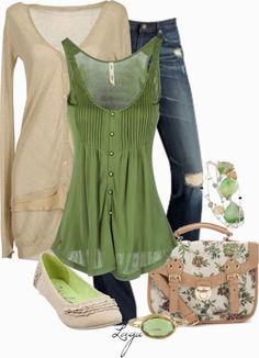 Spring Outfits | Green & Cream  Adriano Goldschmied jeans, cardigan, RIFLE Top, Roland bag, ring, bracelet  by lagu