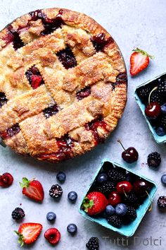Cherry Berry Pie with a flaky all-butter crust