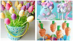 Cakepops de páscoa para festa infantil junto aos coelhinhos