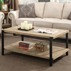 Convenience Concepts Wyoming Large Coffee Table, Natural Fir & Black - It worked great and was for the right price.What are the features of Convenience Concepts Black Coffee Tables, Rustic Coffee Tables, Cool Coffee Tables, Contemporary Coffee Table, Rustic Contemporary, Contemporary Furniture, Living Room Furniture, Home Furniture, Furniture Outlet