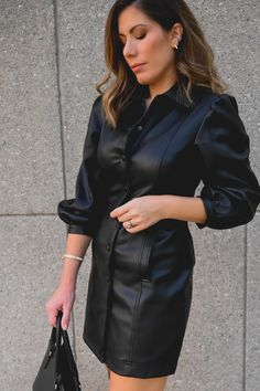 Leather Shirt Dress, Faux Leather Dress, Leather Dresses, Black Leather, Classy Outfits, Stylish Outfits, Fashion Outfits, Rocker Chic Style, Winter Dress Outfits