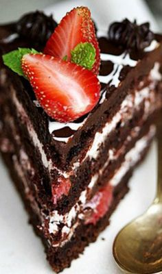 Old Fashioned Chocolate Cake with Balsamic Strawberry & Cream Filling