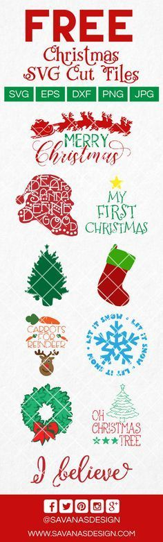 Free Christmas SVG Files for Cricut and Silhouette Cameo. Use these SVG Cut Files for Christmas to make t-shirts, plates, mugs, gifts, and decorations. Created by SavanasDesign.