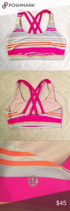 d19016f690 Lululemon striped energy bra Super cute Lululemon striped energy bra!! Has  pink