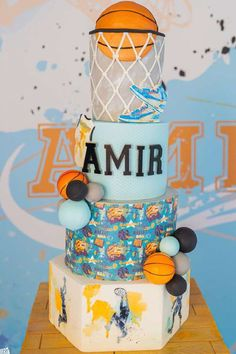 Check out this cool basketball-themed 1st birthday party! The cake is amazing!! See more party ideas and share yours at CatchMyParty.com