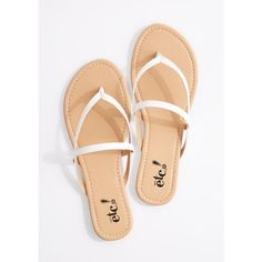 White Cross-Strap Faux Leather Flip Flop | Flip Flops | rue21 ❤ liked on Polyvore featuring shoes, sandals, flip flops, vegan footwear, vegan sandals, vegan leather sandals, vegan shoes and synthetic leather shoes