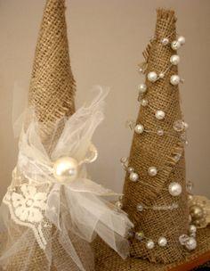 Burlap Shabby Chic Christmas Tree 9 inch by LaParisLaur on Etsy, $24.00