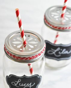 Hometalk :: Mason Jar Drinking Glasses where to get the cut out tops.