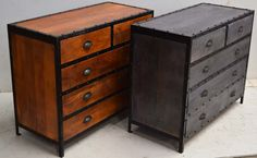 Mango Wood Drawer Cabinet. Iron Riveted Frame. Industrial Style Furniture From Jodhpur