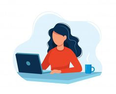 Woman working with computer Premium Vect. Flat Design Illustration, People Illustration, Character Illustration, Digital Illustration, 2 Logo, Wet Rooms, Motion Design, Vector Art, Aurora Sleeping Beauty