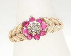Ruby And Diamond Ring, Foliate Motif, Set In 9ct Solid Gold, 0.8ct Red Ruby, Size 9