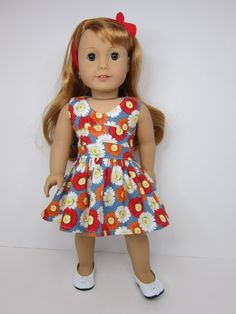 American Girl doll clothes Pretty red orange and by JazzyDollDuds