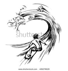 Surfer in wave brush ink sketch handdrawn serigraphy print - stock vector