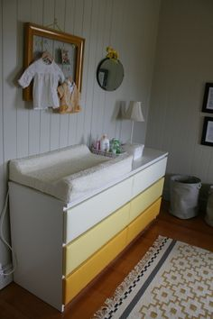 ombre IKEA Malm dresser turned into a colorful changing table Decor, Ikea Diy, Changing Table Dresser, Ikea Hack, Ikea, Ikea Malm Dresser, Upholstery, Dressers Makeover, Ikea Malm Drawers