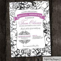 Bridal Shower Invitation, Vintage Swirl Poster Antique Style - Violet Purple Formal Birthday Baby Shower Retirement, DIY Printable Digital on Etsy, $16.50