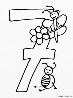 Cijfers 1 T M  Kleurplaat Pompom Verjaardag Knutselen Met Verjaardag