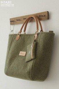 绿色毛料手工包